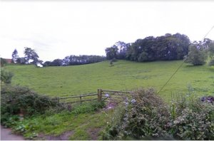 View across fields from the village end of Green Lane