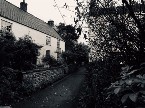 a narrow lane with cottages raised either side